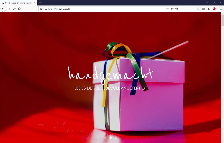 Webdesign für handgemachte Geschenkboxen